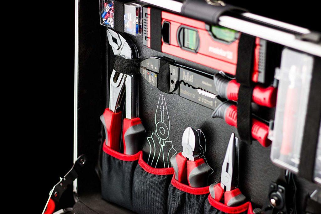 werkzeugkoffer, werkzeug, leer, bestückt, test, mit rollen, mit werkzeug, set, trolley, trolli, profi, befüllt